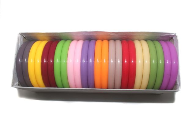 Beadsnfashion Acrylic Colourful Bangles For Silk Thread Jewellery Making, Full Box 24 Pcs, Size2.4