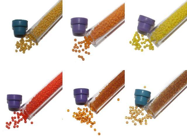 Preciosa seed Beads Yellow & Orange DIY 6 Tube Combo, Size 11/0, 1250 Beads/Tube