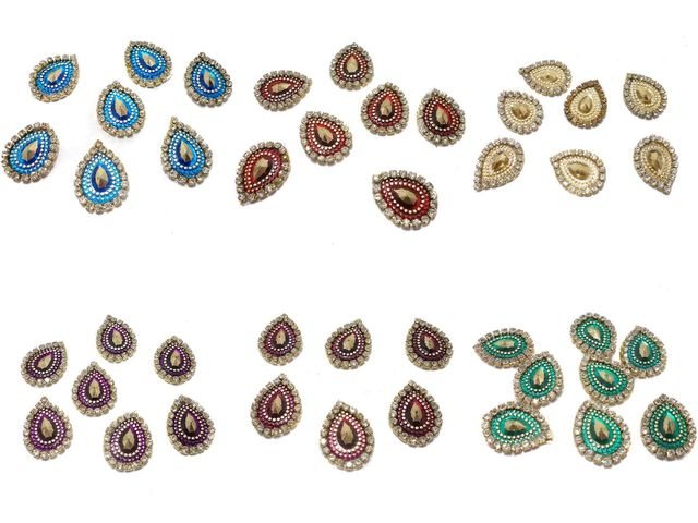 Silk thread jewellery making tear drop crystal rhinestone cabochon bezels, size: 18x14, pack of 72 pcs (12 pcs x 6 color)