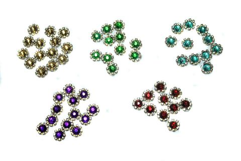 Silk thread jewellery making crystal rhinestone cabochon bezels , size: 10 mm, pack of 125 pcs (25 pcs x 5 color)