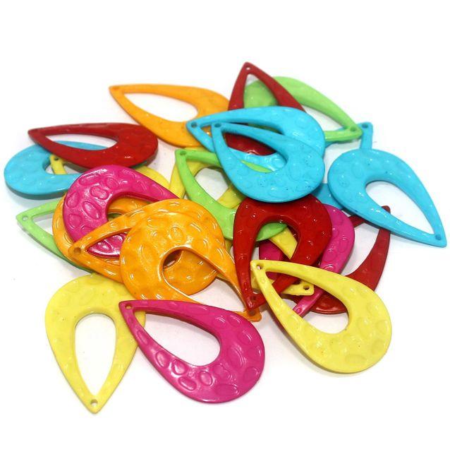 50 Pcs Silk Thread Jewellery Making Multicolor Acrylic Earring Base Drop Shape 42x17mm