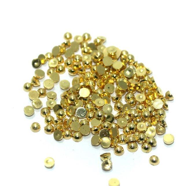 50 Gm. Silk Thread Jewellery Making & Decorating Golden Acrylic Chatons Half Round 3 mm