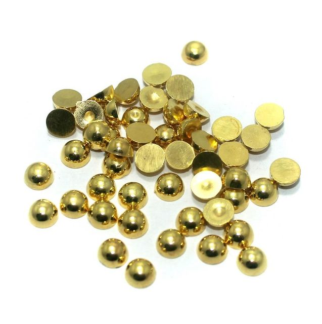 50 Gm. Silk Thread Jewellery Making & Decorating Golden Acrylic Chatons Half Round 6 mm