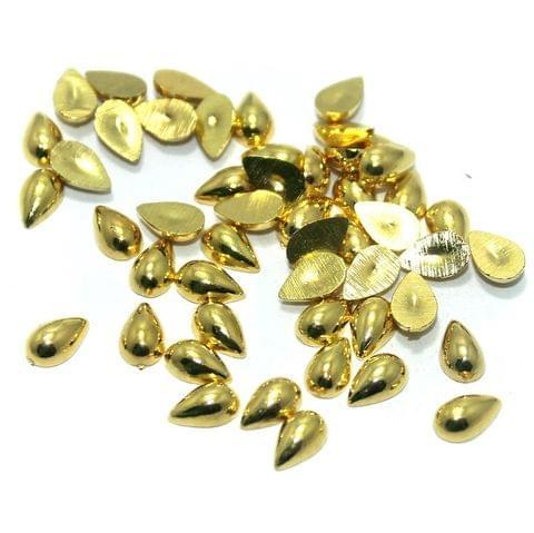 50 Gm. Silk Thread Jewellery Making & Decorating Golden Acrylic Chatons Drop 8x4 mm