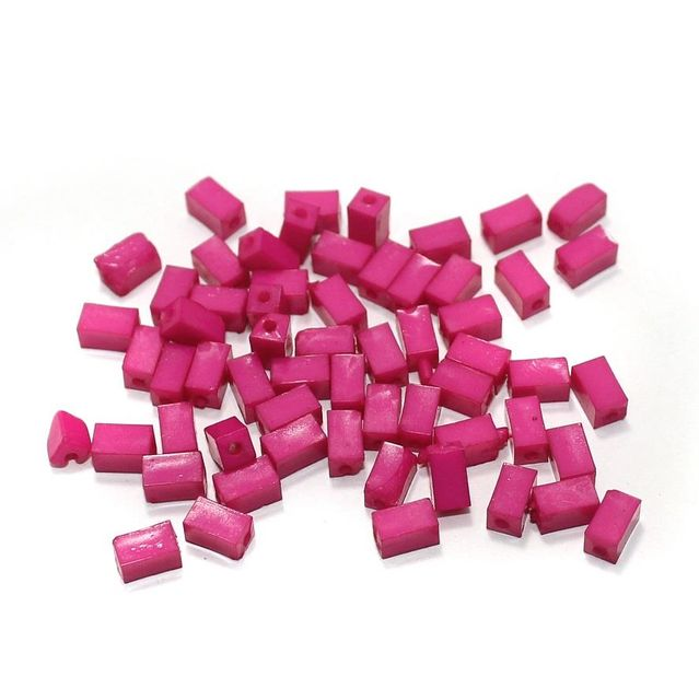 100 Gm Acrylic Rectangle Beads Hot Pink 7x4 mm
