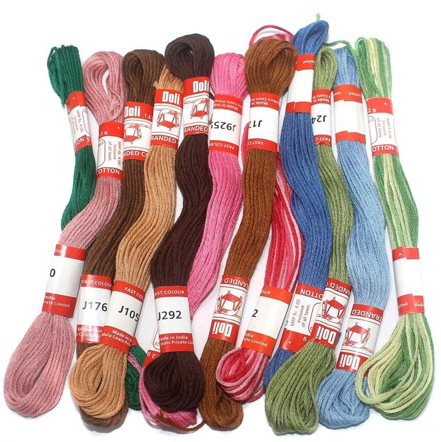 12 Colors Jewellery Making Embroidery Thread Combo