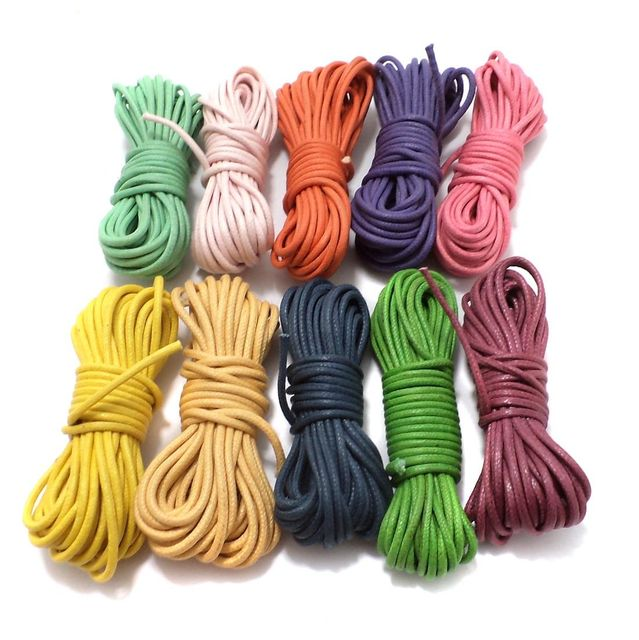 10 pcs [5mtr each] Cotton Cord 2mm Combo Pack Assorted Color