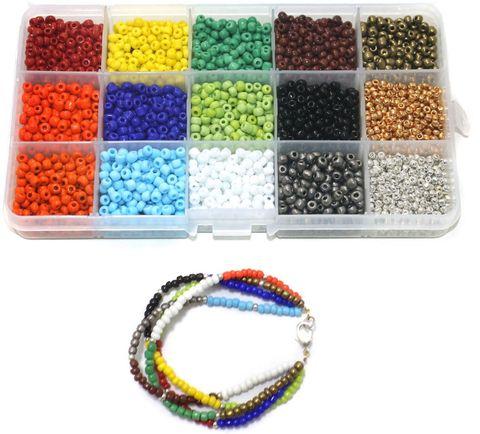 Jewellery Making Opaque & Metallic Seed Beads Kit[15 Colors]