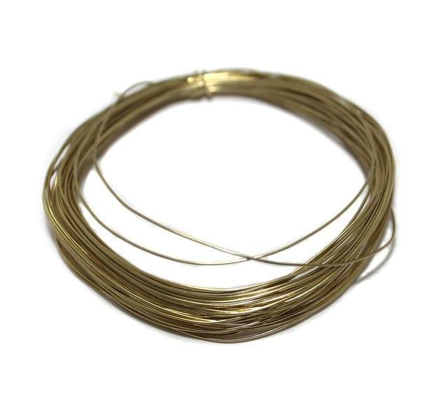 Jewellery Making Golden Plated Brass Craft Wire 15 Mtrs, 24 Gauge Thick (0.55 mm)