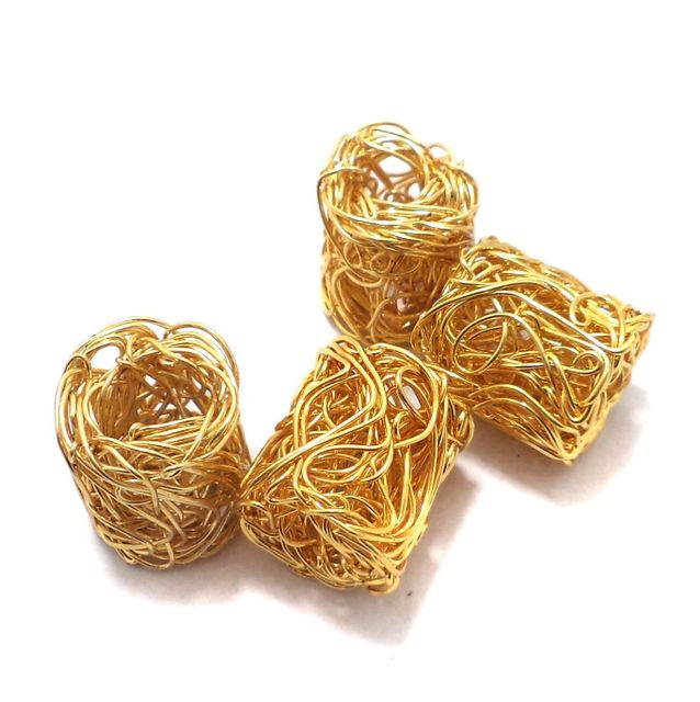 10 Pcs. German Silver Wire Mesh Beads Golden 19x17 mm