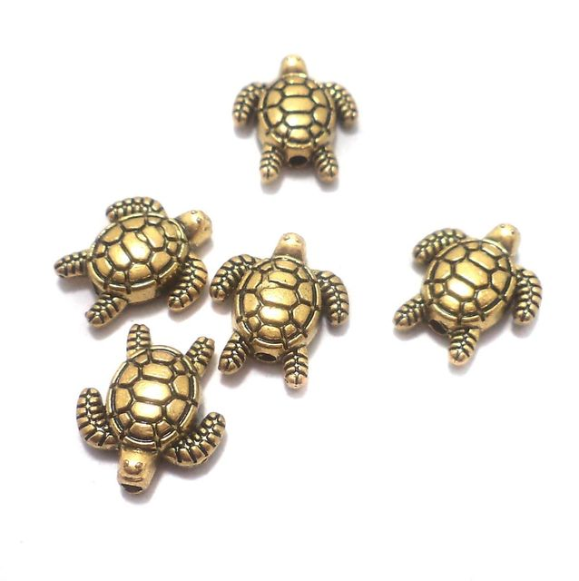 25 Pcs. German Silver Tortoise Beads Golden 13x12 mm