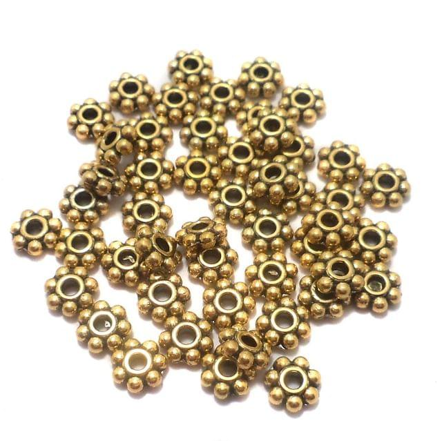 200 Pcs. German Silver Chakri Beads Golden 4 mm