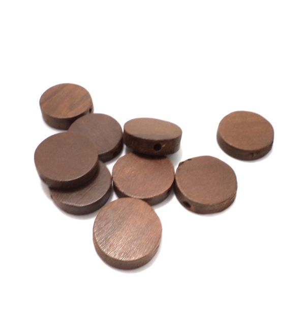 50 Pcs. Wooden Flat Round Beads Chocolate 19 mm