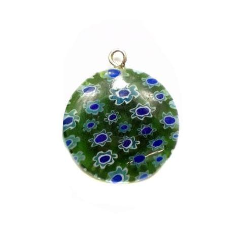 Millefiori Glass Coin Pendants Dark Green 20 mm