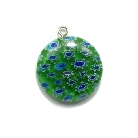 Millefiori Glass Coin Pendant Green 20 mm