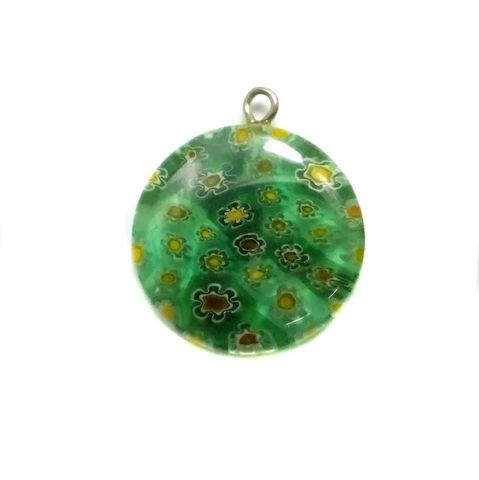 Millefiori Glass Coin Pendant Light Green 20 mm