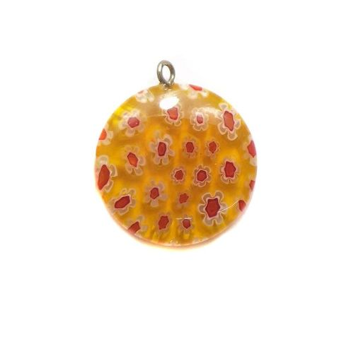 Millefiori Glass Coin Pendant Orange 20 mm