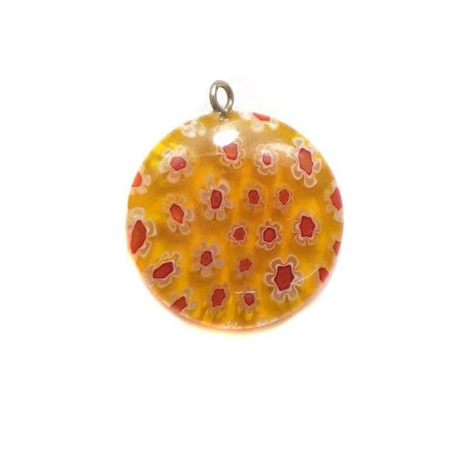 Millefiori Glass Coin Pendant Orange 20 mm