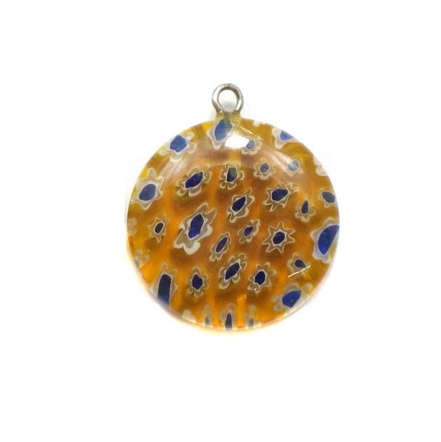 Millefiori Glass Coin Pendant Yellow 20mm