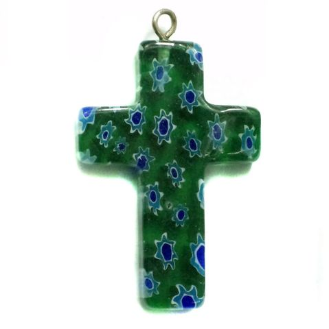 Millefiori Glass Cross Pendant Dark Green 30x20mm