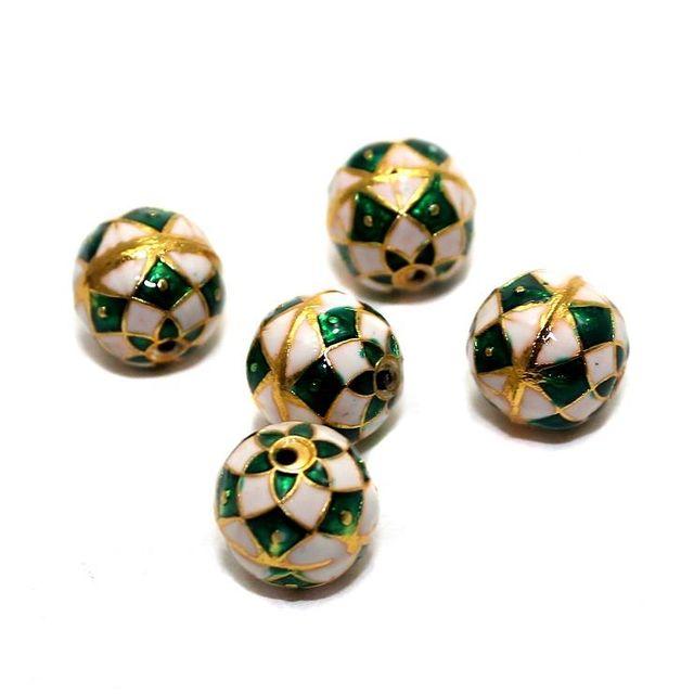 5 Meenakari Round Beads White And Green 10