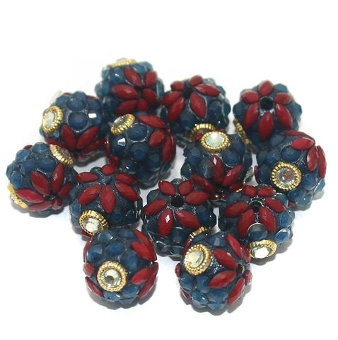 Takkar Work Round Beads 15mm Multicolor