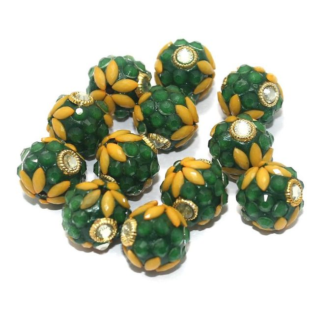 Takkar Work Round Beads 15mm Green