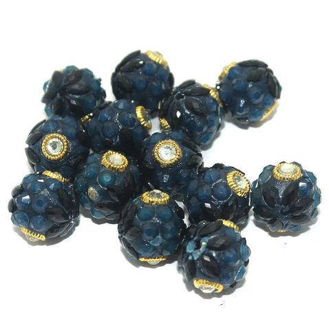 Takkar Work Round Beads 15mm Teal