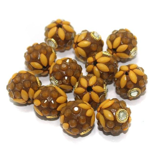 Takkar Work Round Beads 15mm Brown