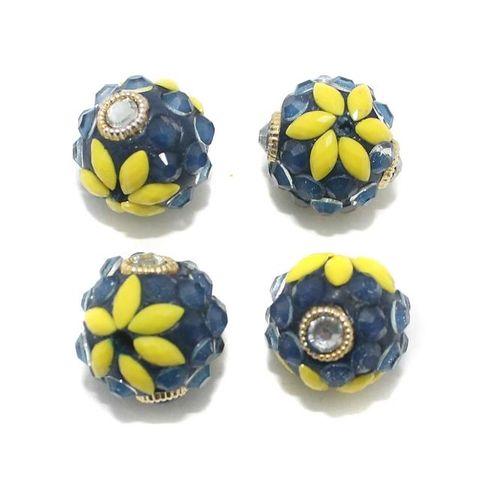 5 Glass Round Beads With Takkar Work Blue 15