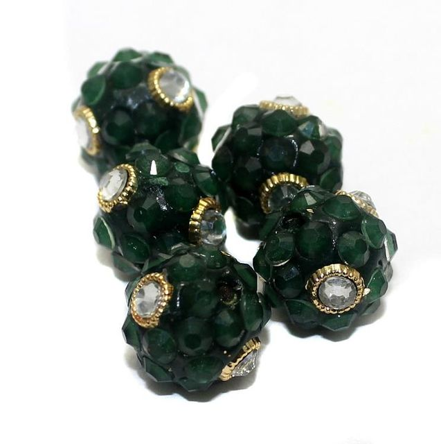 5 Glass Takkar Work Round Beads Green 15