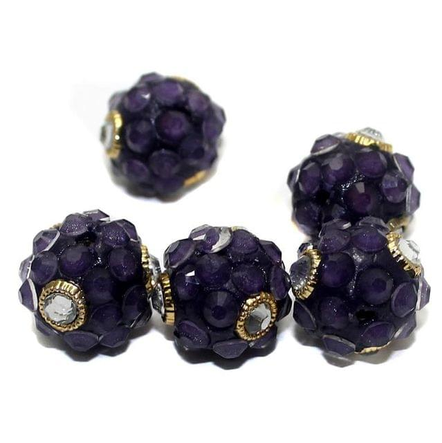 5 Glass Takkar Work Round Beads 15