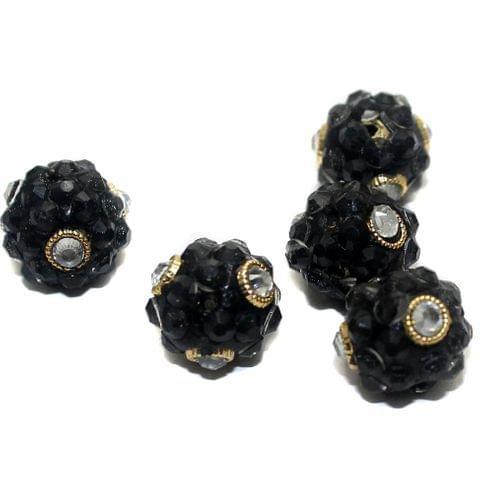 5 Glass Takkar Work Round Beads Black 15
