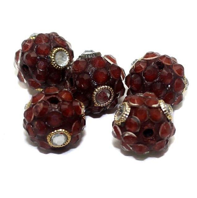 5 Glass Takkar Work Round Beads Burgundy 15