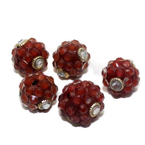 5 Glass Takkar Work Round Beads Light Siam 15