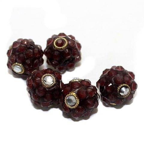 5 Glass Meenakari Round Beads Garnet 15