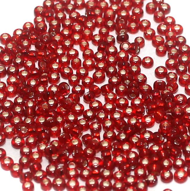 100 Gm. Nippon Seed Beads Red Silver Line, Size 11/0