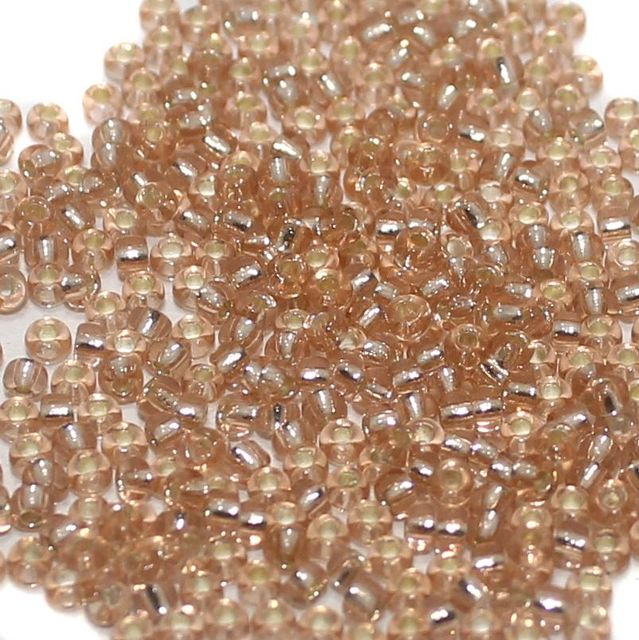 100 Gm. Nippon Seed Beads Peach Silver Line, Size 11/0