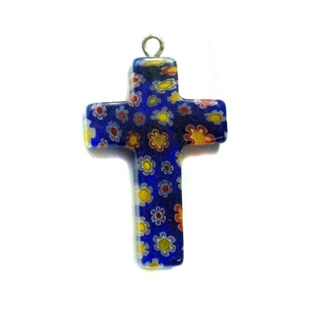 Millefiori Glass Cross Pendant Blue 30x20mm