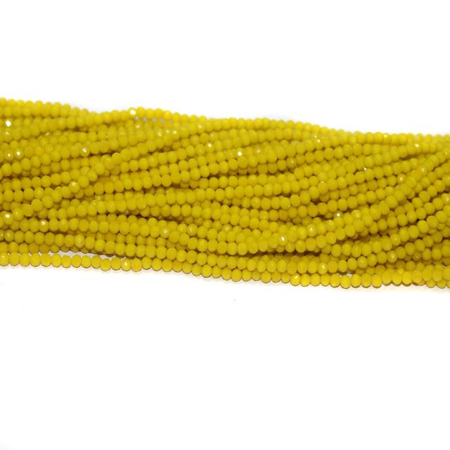 140+ Crystal Faceted Rondelle Beads Opaque Yellow 3 mm