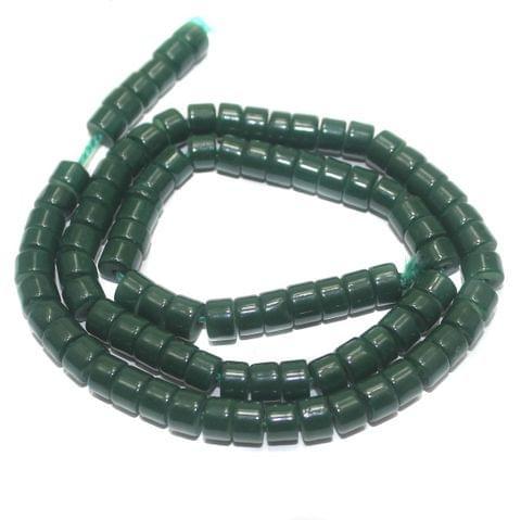 5 Strings of Jaipuri Beads Tyre Green 6x4