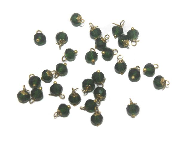 200 Faceted Loreal Beads Trans Dark Green 6 mm