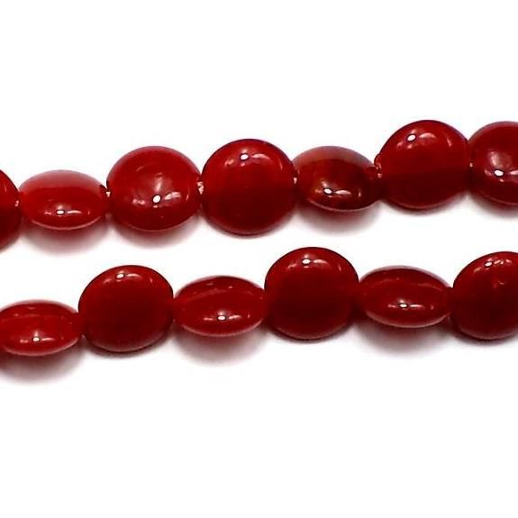 5 Strings Fire Polish Disc Beads Dark Red 12