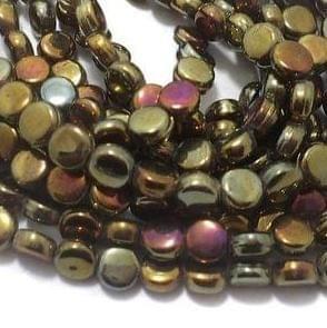 5 Strings Glass Fire Polish Disc Beads GD 7x4 mm