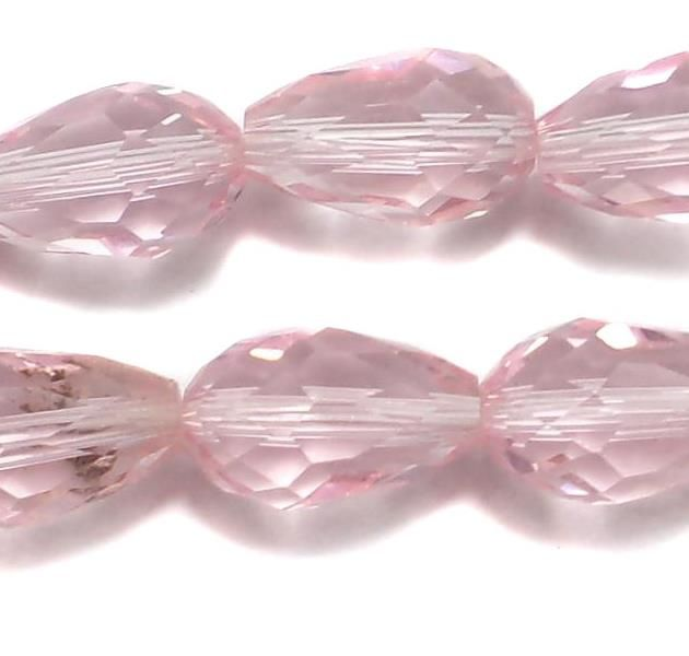 20 Faceted Crystal Drop Beads Trans Pink 14x10 mm
