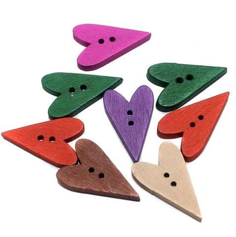 50 Wooden Buttons Long Heart Assorted 24x14 mm
