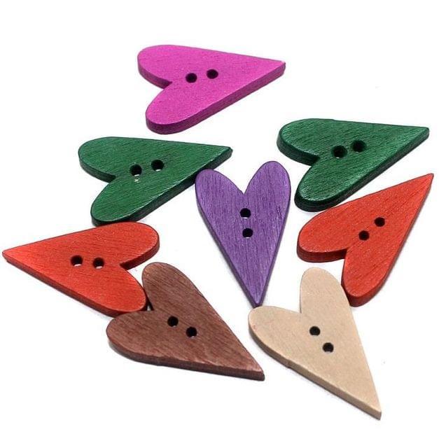 50 Wooden Buttons Long Heart Assorted 24x14 mm