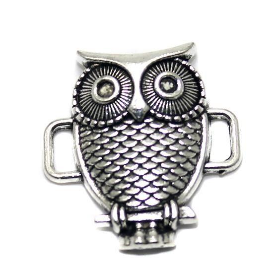 2 German Silver Owl Pendant 24mm