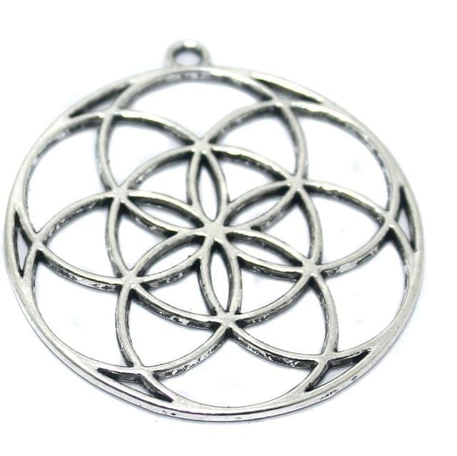 5 Pcs German Silver Circle Pendant 44mm