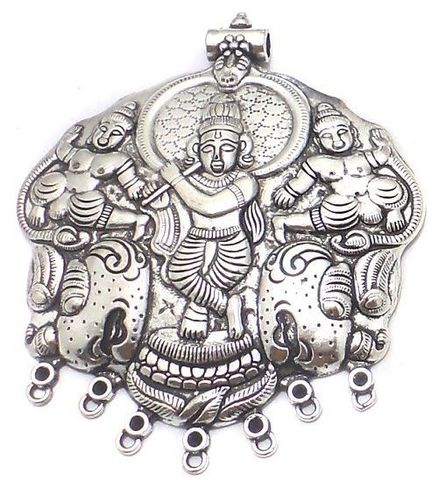 2 Pcs. German Silver Krishna Pendant 3x2.8 Inch